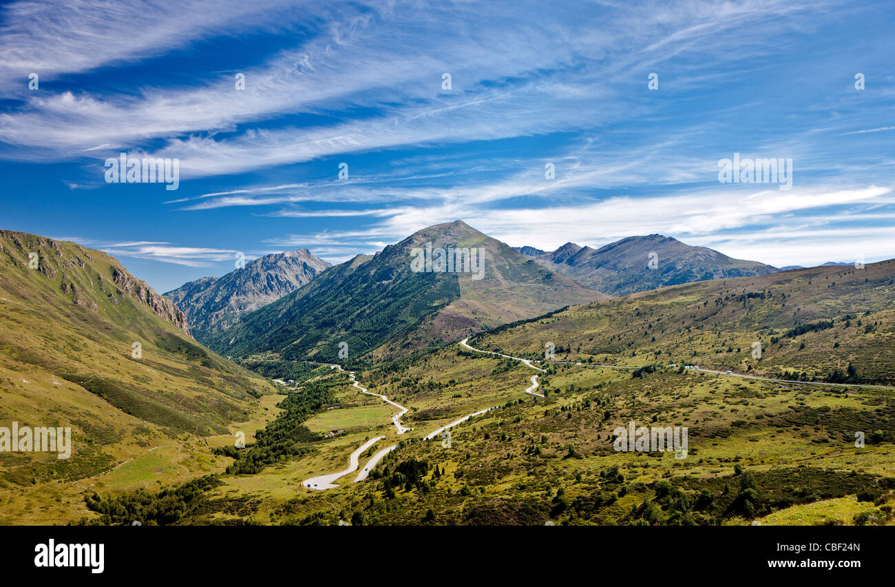 The Pyrenees mountains in Andorra, a principality between France and Spain which is ruled by both countries. - Stock Image