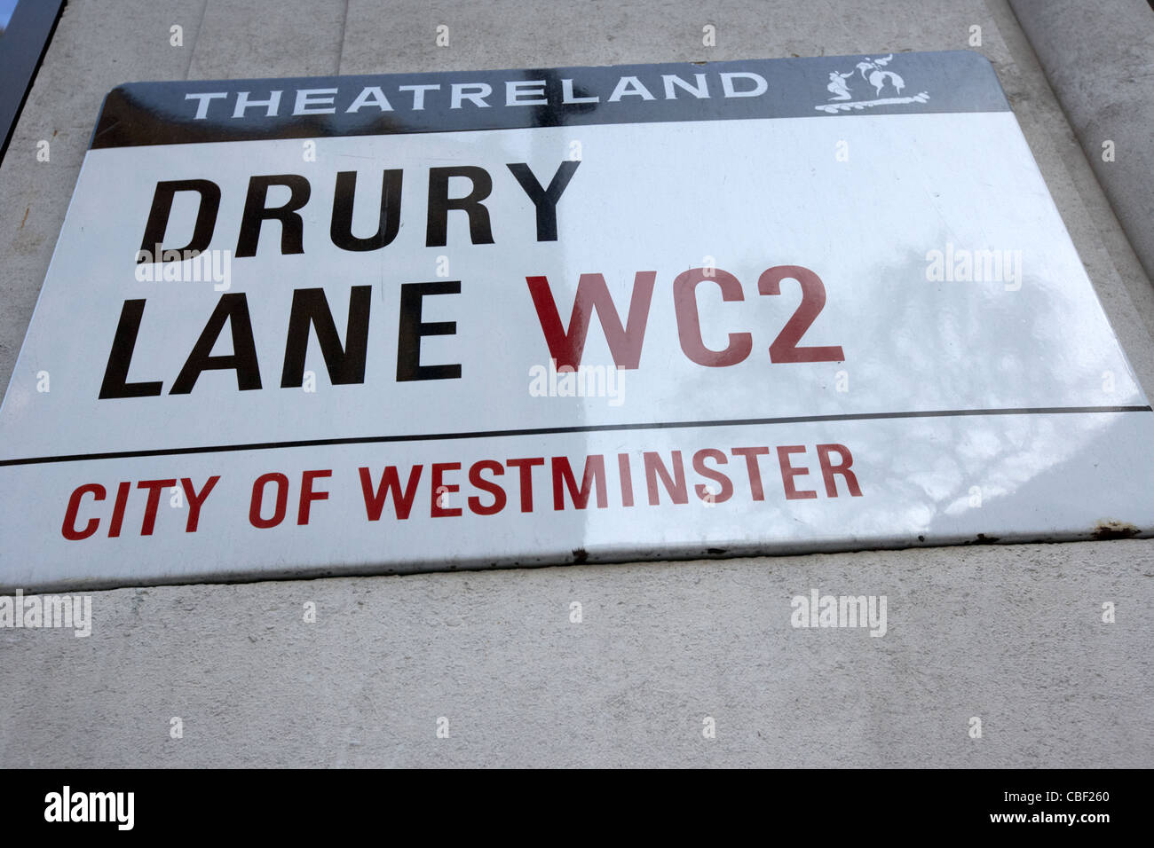 drury lane theatreland streetsign in london england uk united kingdom - Stock Image