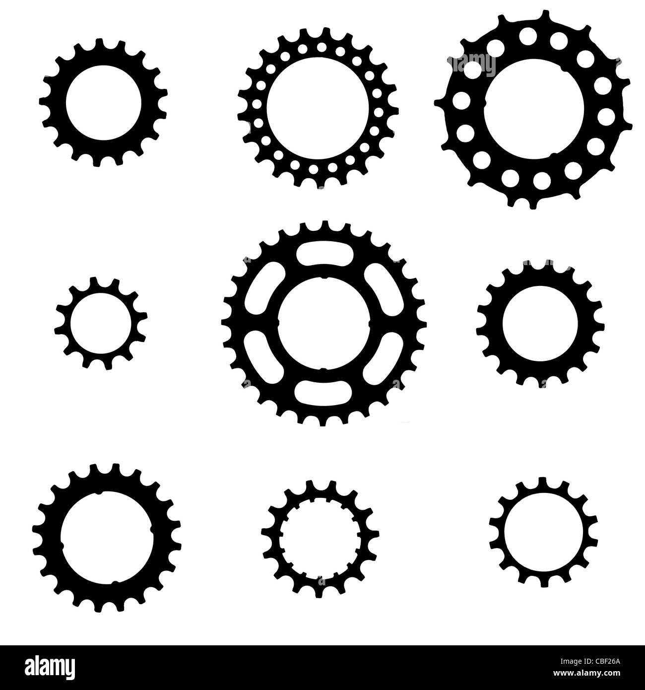 bicycle freewheel cogs (sprockets, gears) of various types ...