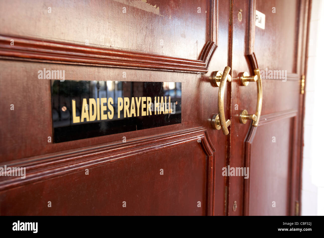 ladies prayer hall entrance at a mosque in north london england uk united kingdom - Stock Image