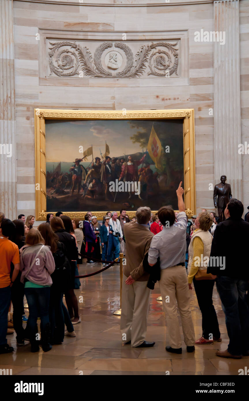 Landing of Columbus Painting in US Capitol Rotunda Stock Photo