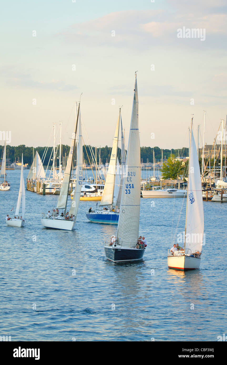 Wednesday night sail boat races, Annapolis, Maryland USA - Stock Image