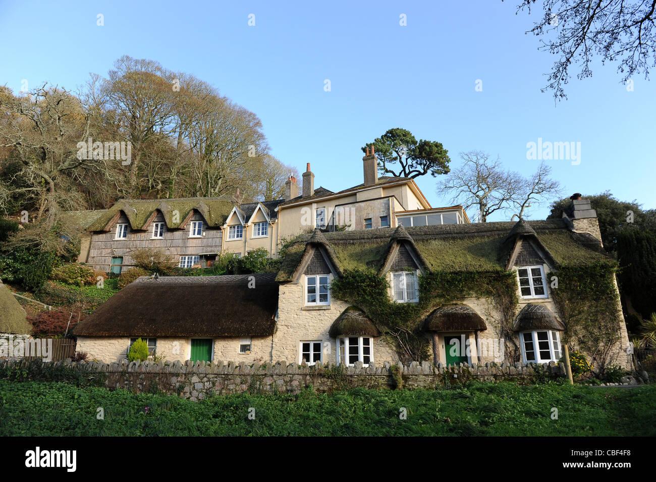 Picturesque cottages near Blackpool Sands South Devon England UK - Stock Image