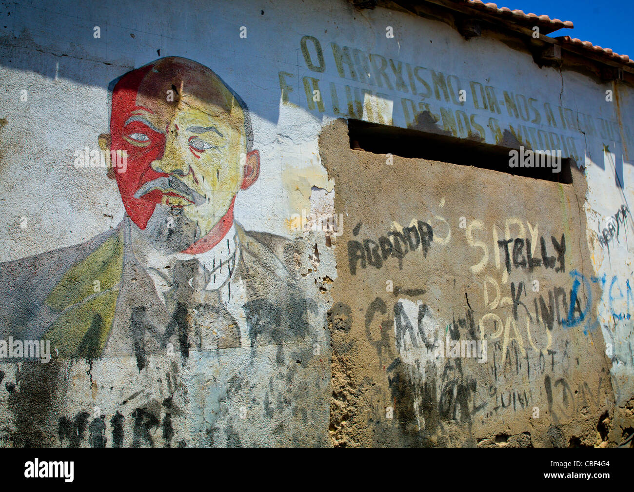 Old Communist Propaganda Wall Painting With Lenin, Namibe Town, Angola - Stock Image
