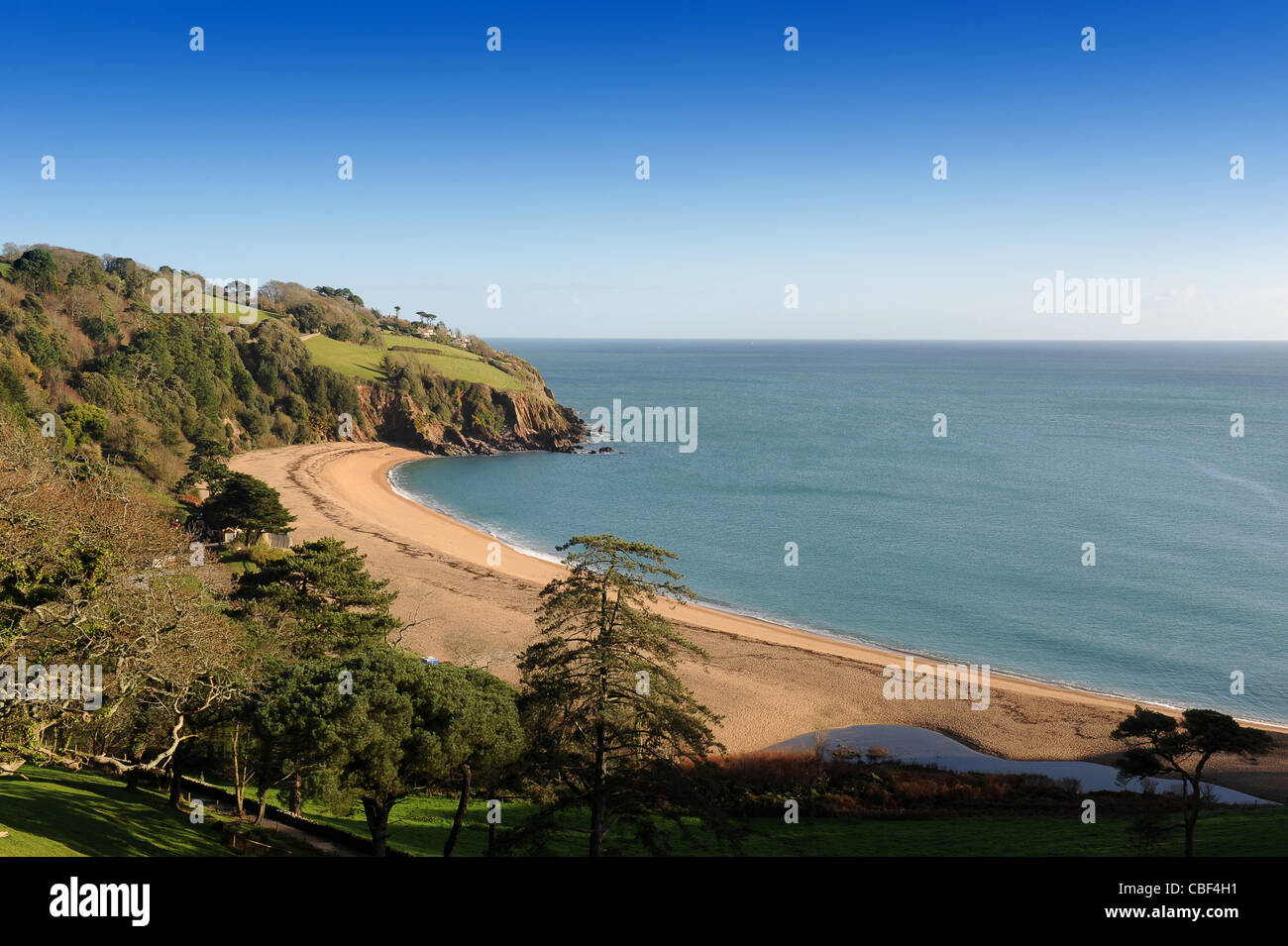 Blackppol Sands beach in winter South Devon England UK - Stock Image
