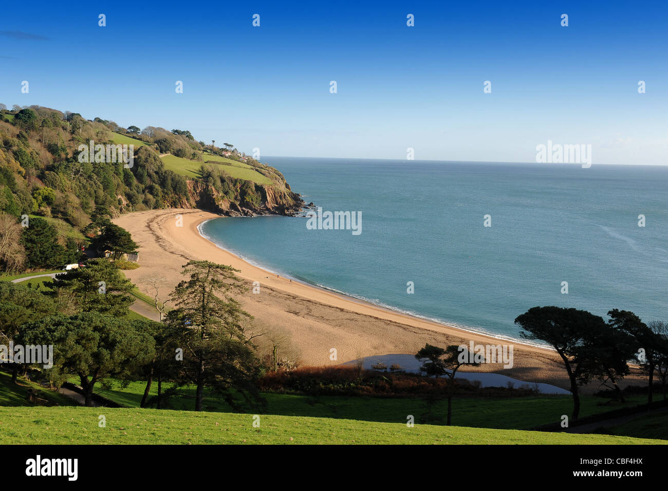 Blackpool Sands beach in winter South Devon England UK - Stock Image