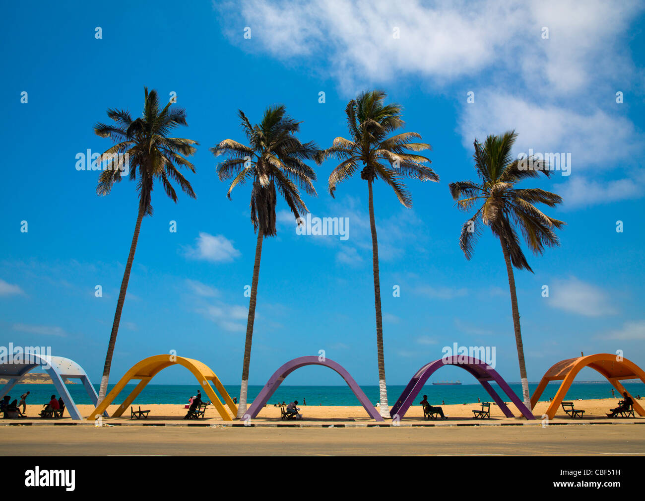 Shelters Against Sun On The Beach, Namibe Town, Angola - Stock Image