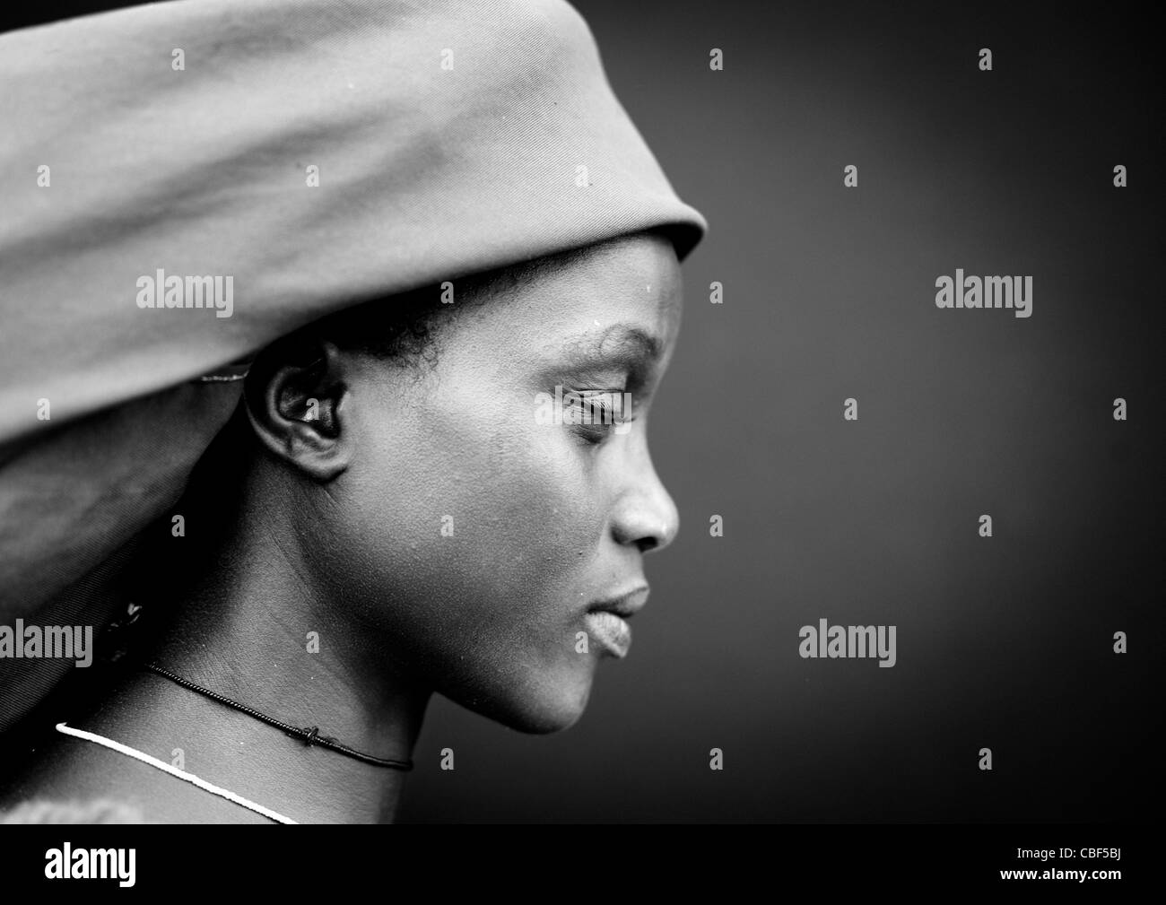 Mucubal Woman With The Ompota Headdress, Virie Area, Angola - Stock Image