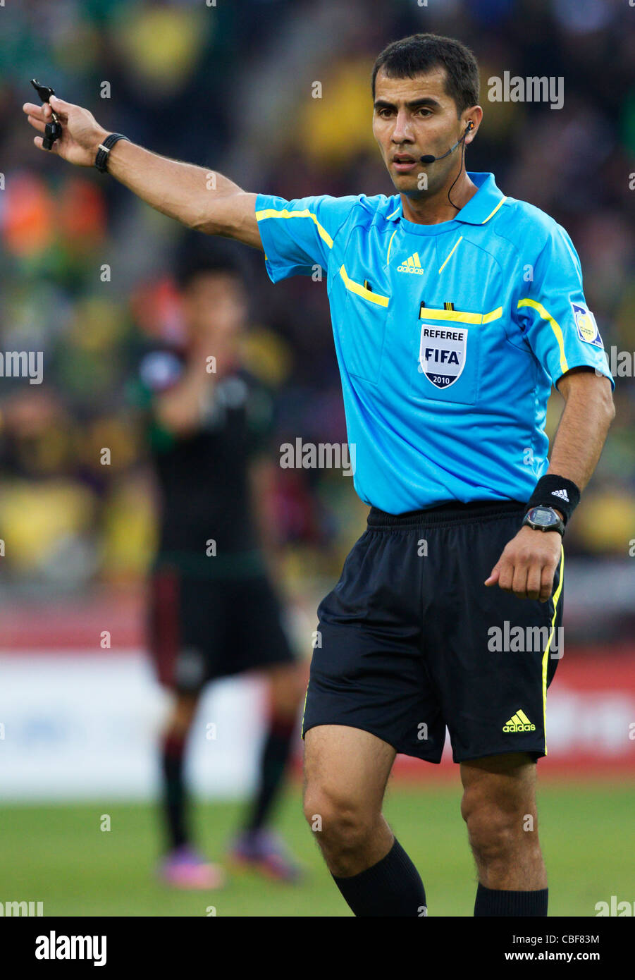 Referee Ravshan Irmatov (Uzbekistan) officiates the opening match of the 2010 FIFA World Cup between South Africa - Stock Image