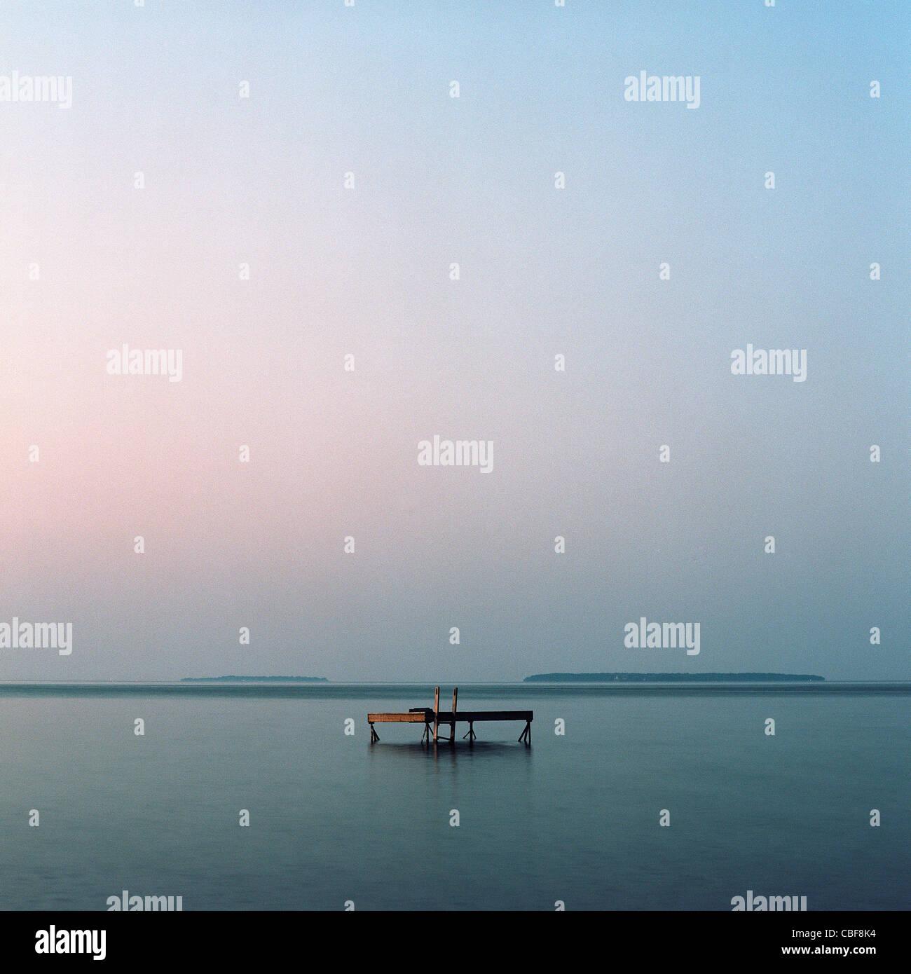 Pontoon on Lake Simcoe, Ontario, Barrie, Canada - Stock Image