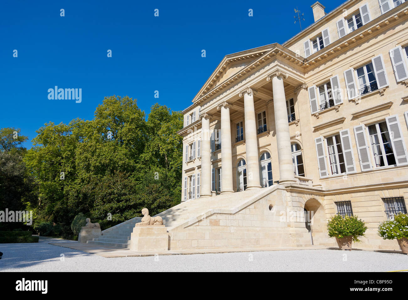 Facade of the Château Margaux., The Château Margaux wine waits 25 months in wooden barrel, from various - Stock Image