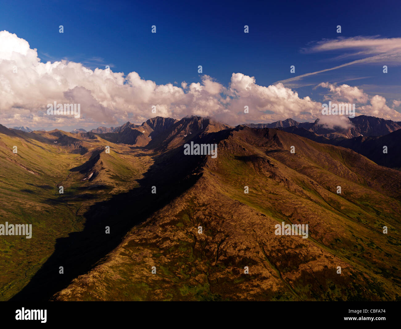 An aerial view of the Chugach Mountains, Chugach State Park, Alaska, USA - Stock Image