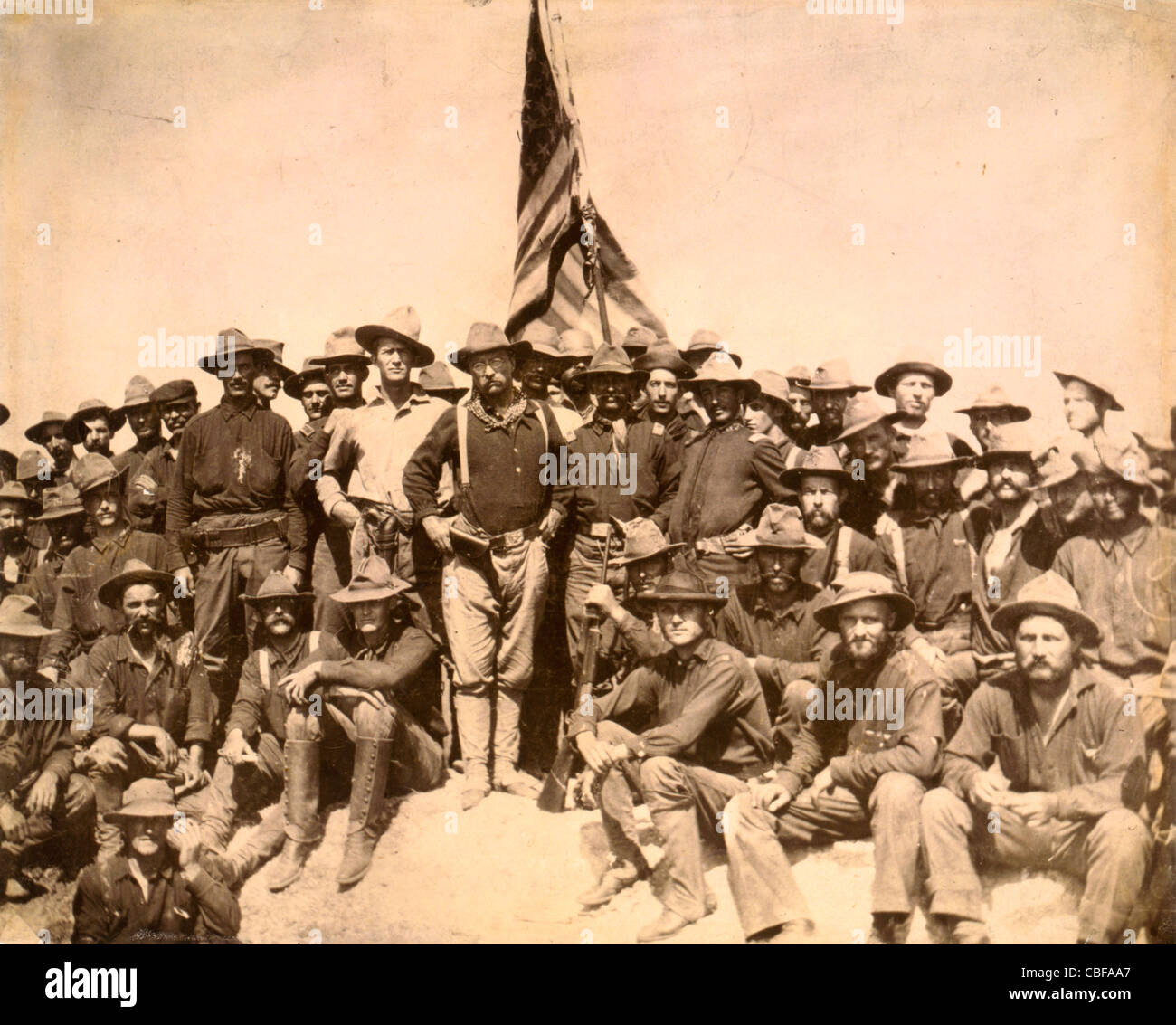 [Colonel Roosevelt and his Rough Riders at the top of the hill which they captured, Battle of San Juan] / by William - Stock Image