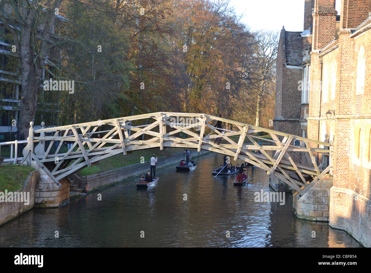 The Mathematical bridge which is said to be designed by Sir Isaac Newton while he was studying in Cambridge. - Stock Image