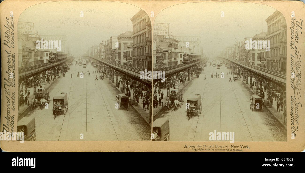 Along the noted Bowery, New York 1899 - Stock Image