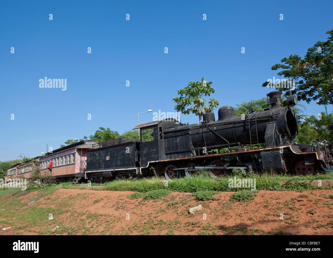 Old Steam Engine Wrecks In Luanda, Angola - Stock Image