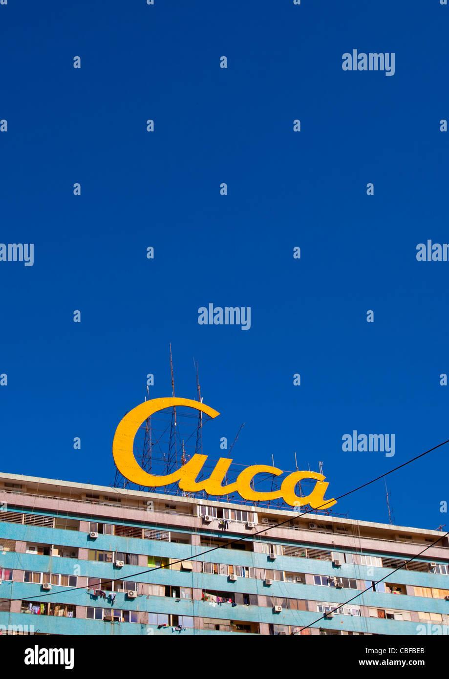 Hoarding Of An Angolan Beer Brand, Luanda - Stock Image
