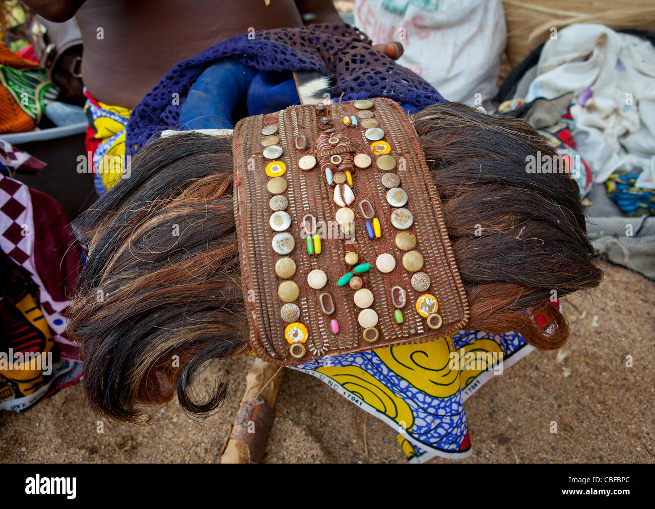 Cow Tails Used To Make Headdresses, Virie Area, Angola - Stock Image