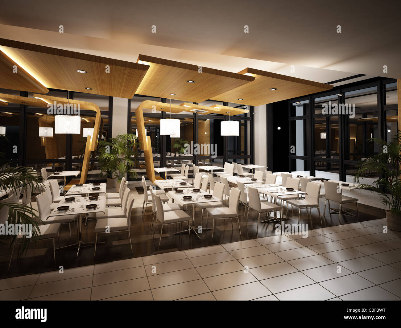 modern restaurant interior view night time scene with warm artificial lighting mirrors and plants all around no people
