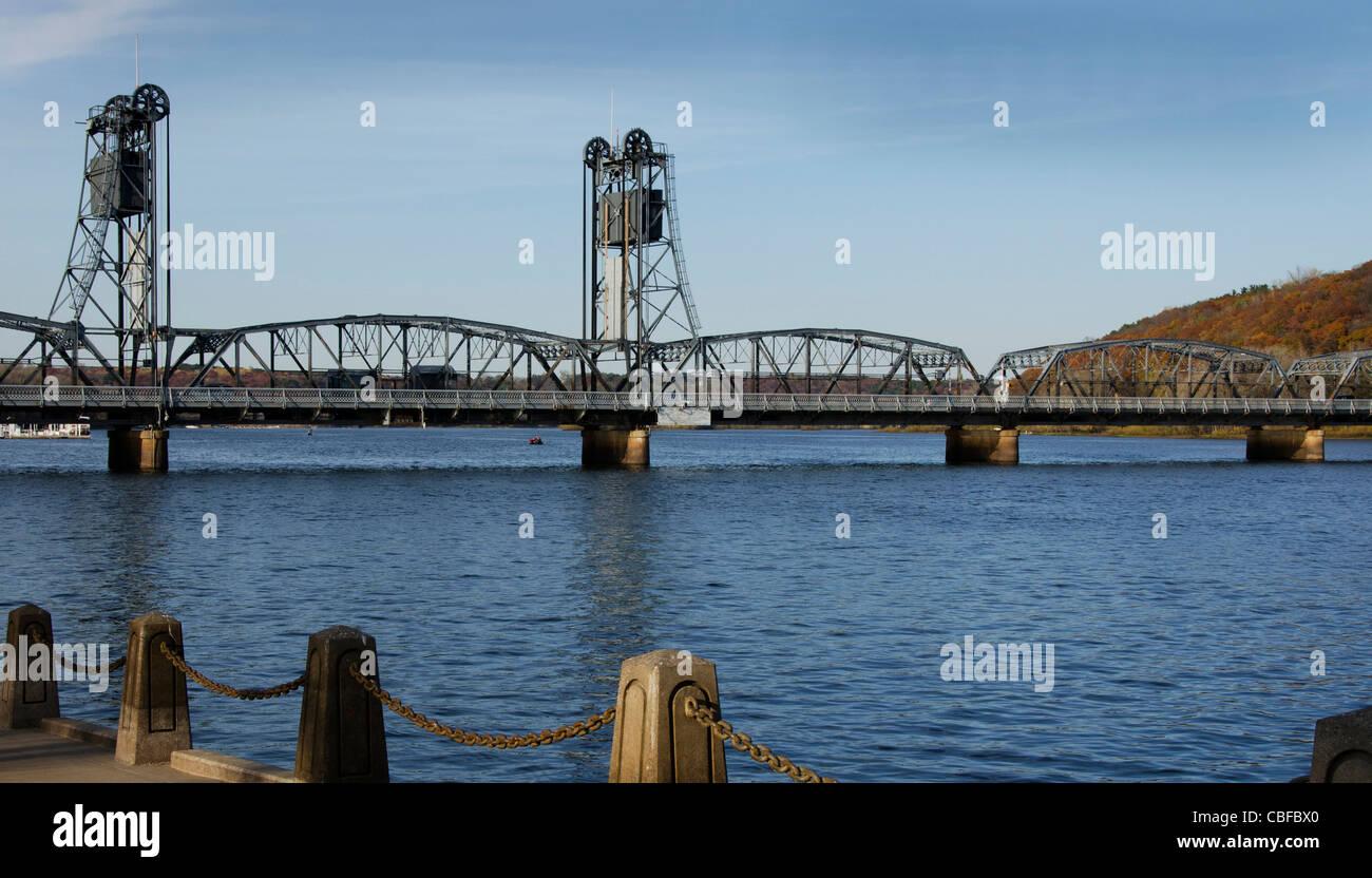 Stillwater Lift Bridge over the St. Croix River in Stillwater, Minnesota - Stock Image