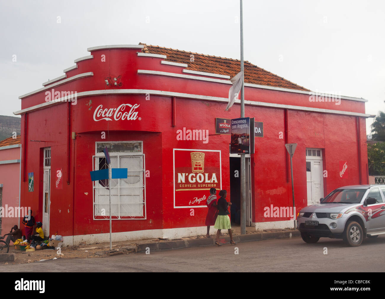 Pub Sponsored By Coca Cola And N Gola Beer In Lubango, Angola - Stock Image
