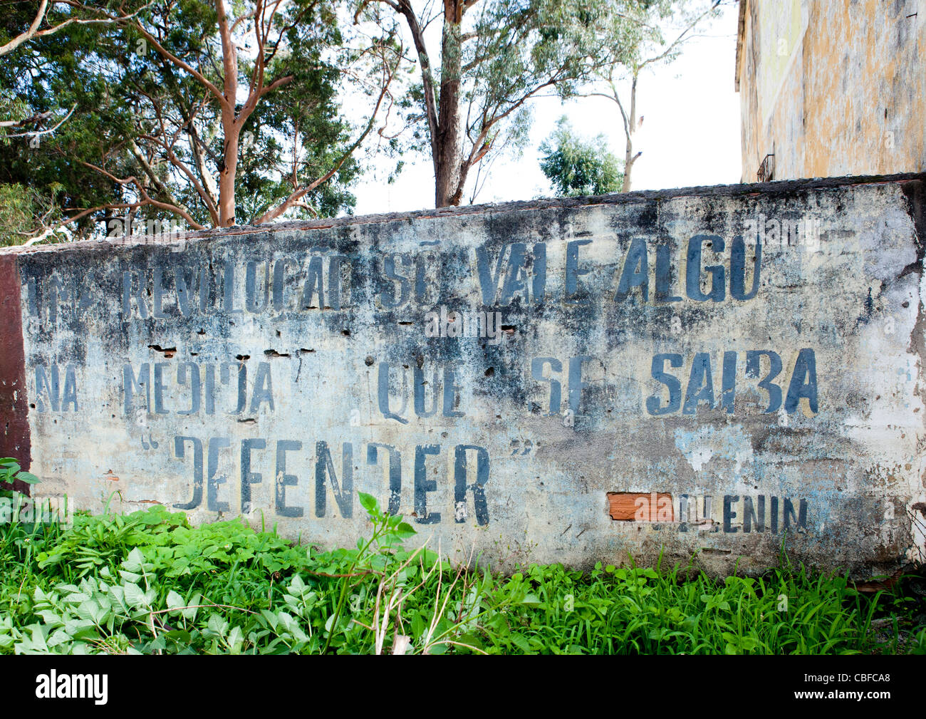 Old Communist Propaganda On A Wall, Lubango, Angola - Stock Image