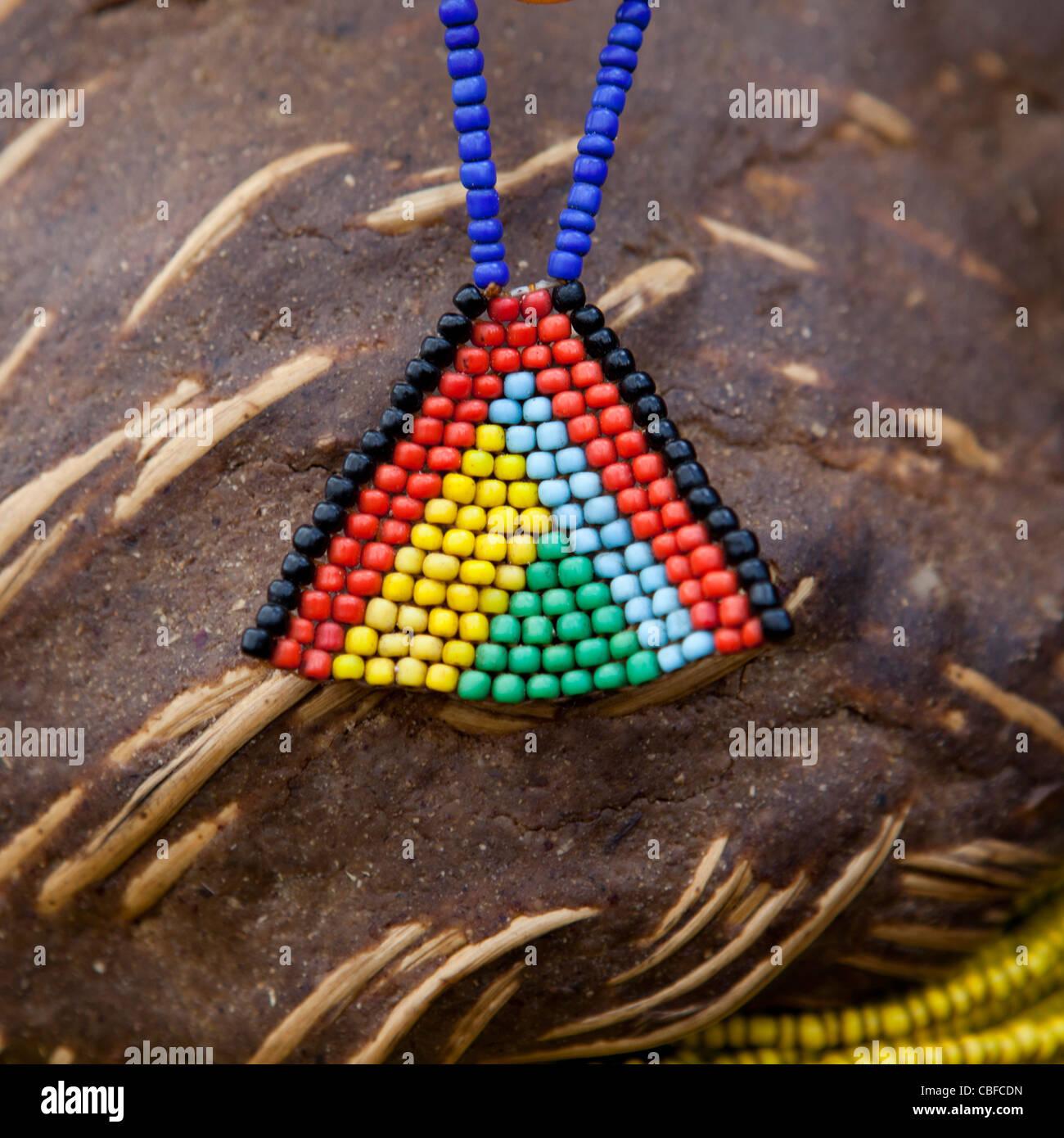 Mwila Beaded Ornament, Angola - Stock Image