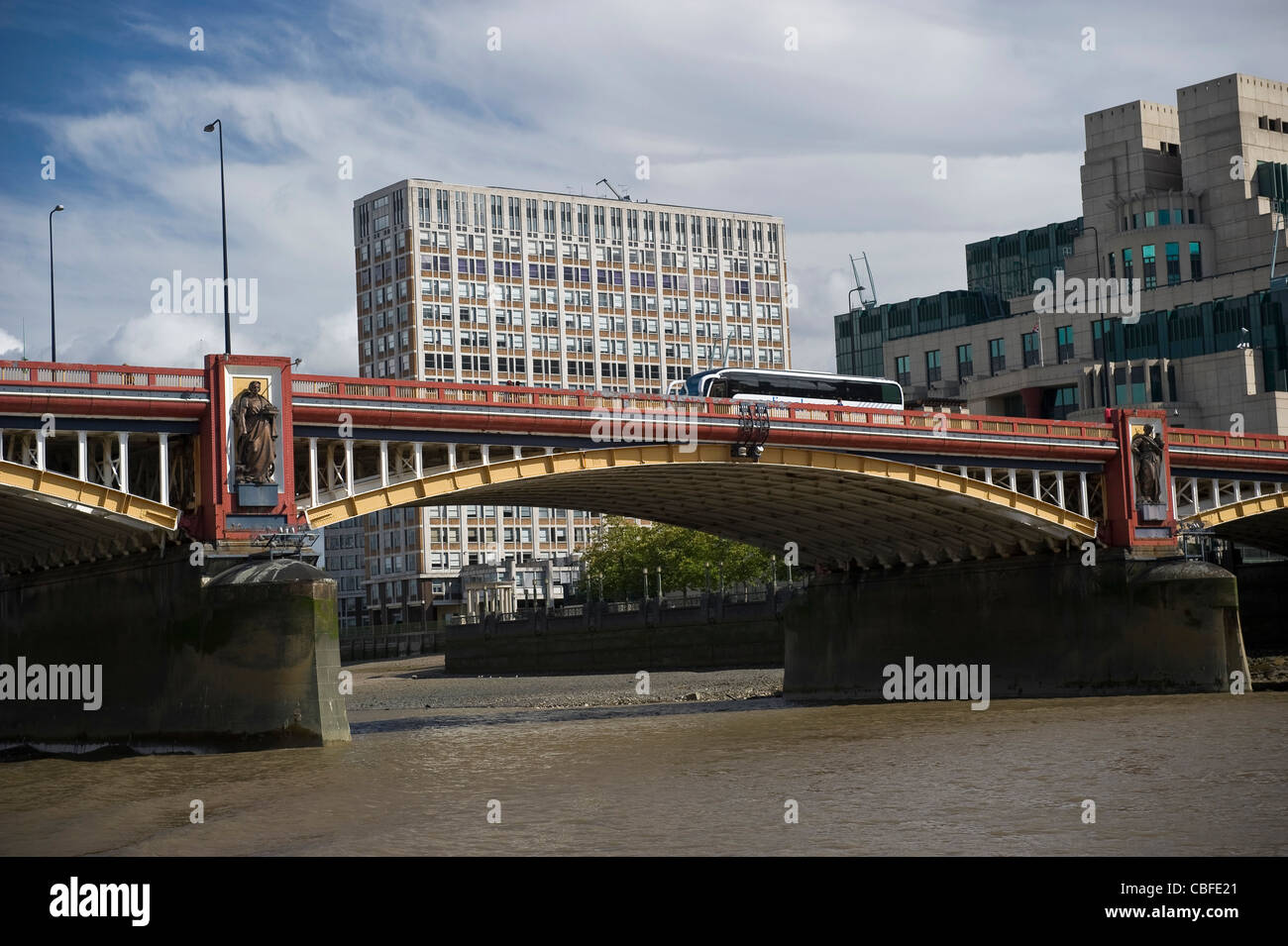 Vauxhall Bridge and the South Bank of the River Thames, London, UK - Stock Image