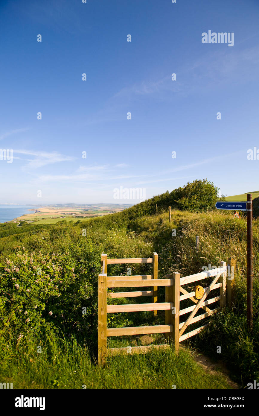 Footpath, Gate, Bridleway, Signs, Blackgang Chine, Viewpoint car Park, Isle of Wight, England, UK - Stock Image