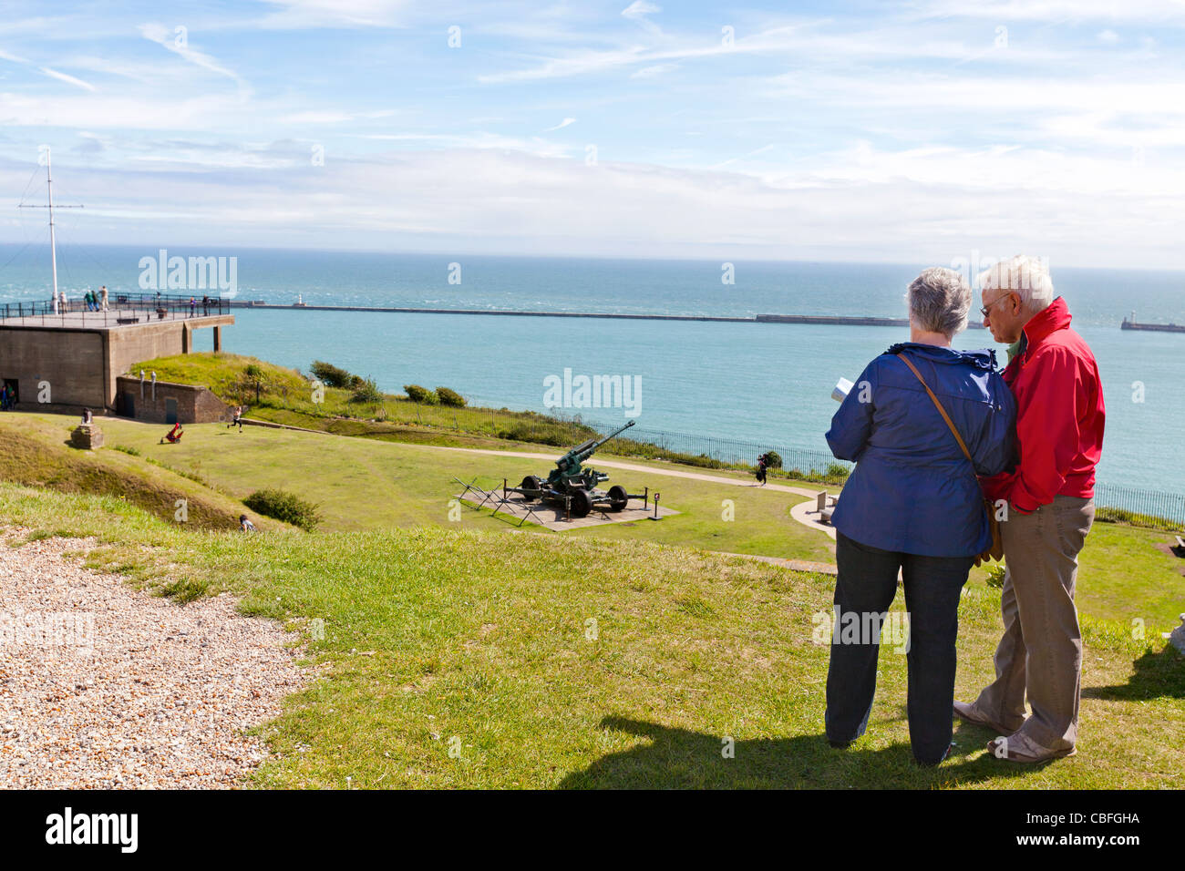 Map Of England Dover.Tourists Reading A Map Overlooking The Port Of Dover Dover England