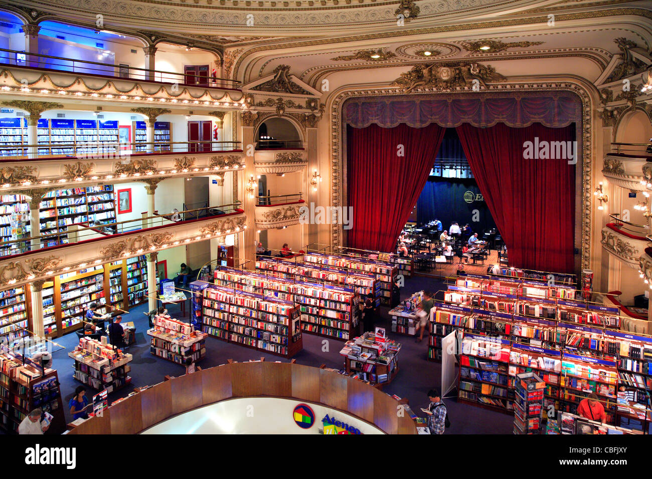 Grand Splendid Ateneo Bookstore. Buenos Aires, Argentina. - Stock Image