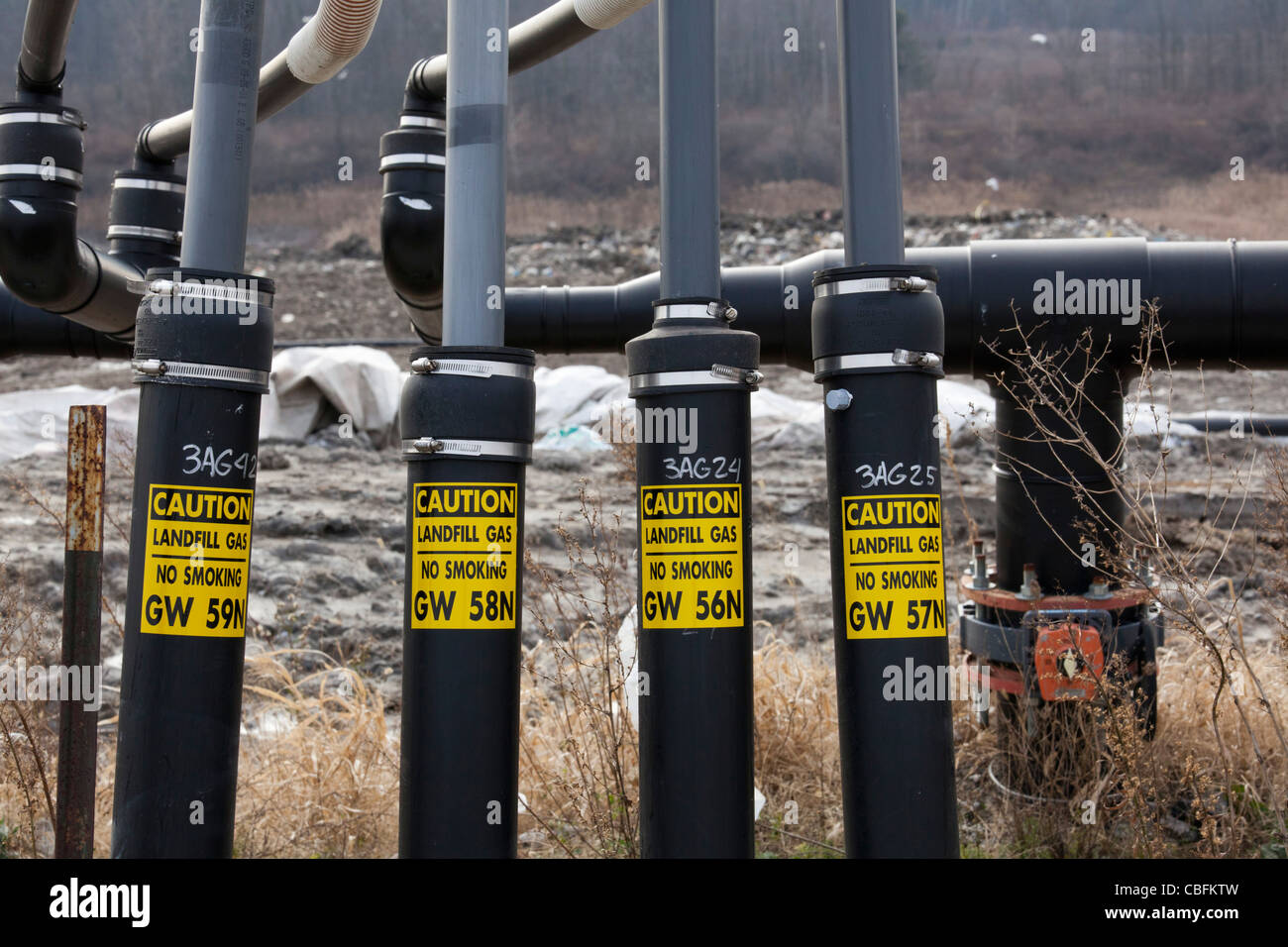 Wells collect methane gas from decaying garbage at St. Clair County's Smith's Creek Landfill. - Stock Image