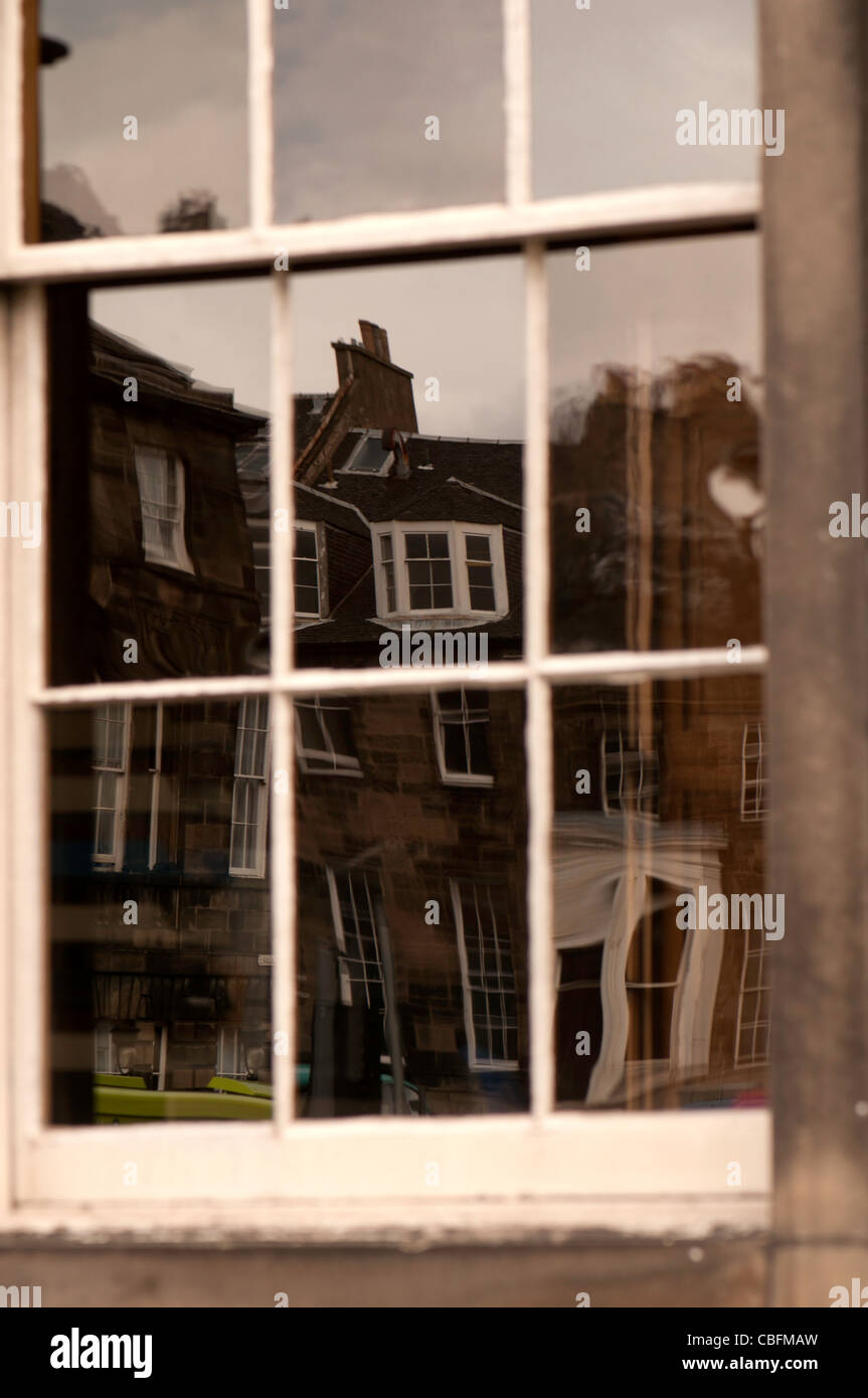 Reflex on a Edinburgh window - Stock Image