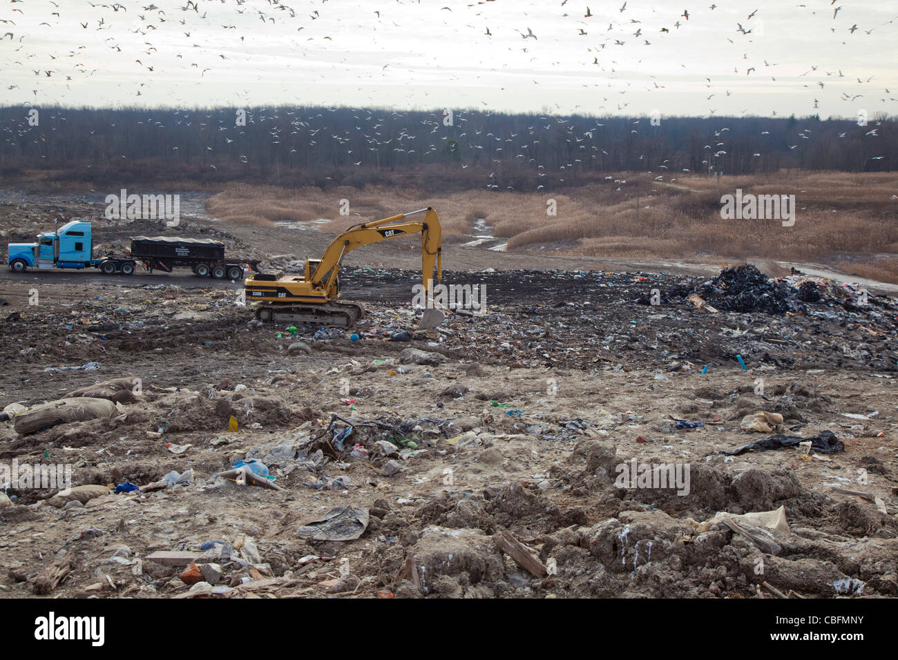 Smith's Creek, Michigan - A truck prepares to unload garbage at St. Clair County's Smith's Creek Landfill. - Stock Image