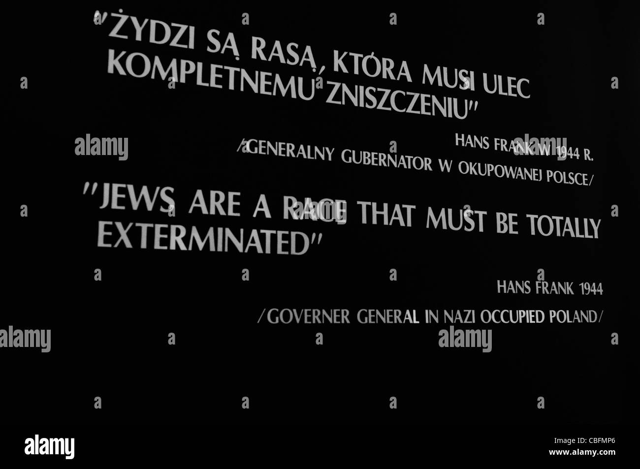 Sign at Auschwitz I Nazi concentration camp: 'Jews are a race that must be totally exterminated' in English - Stock Image