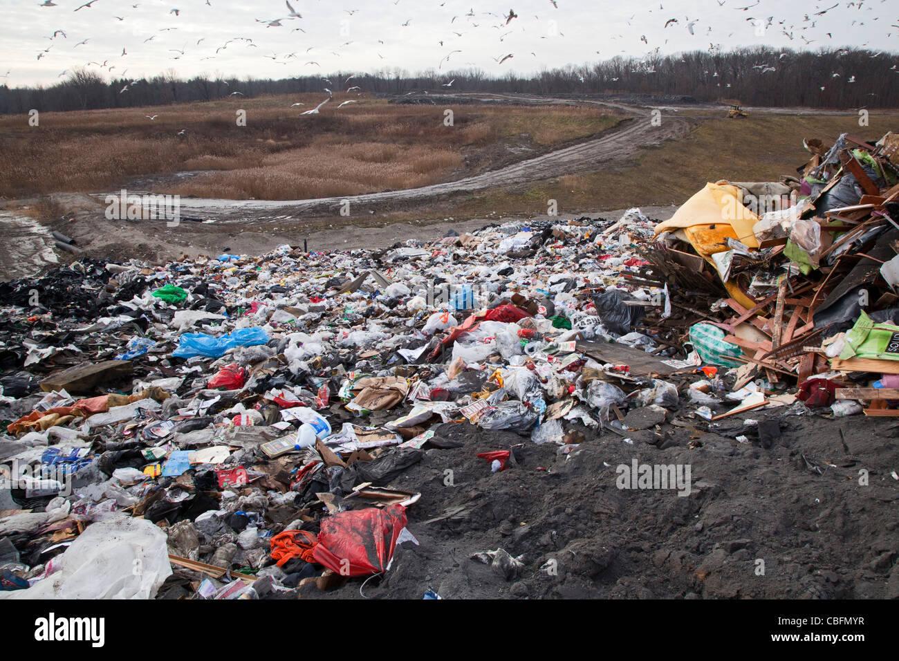 Smith's Creek, Michigan - Garbage dumped at a landfill. - Stock Image