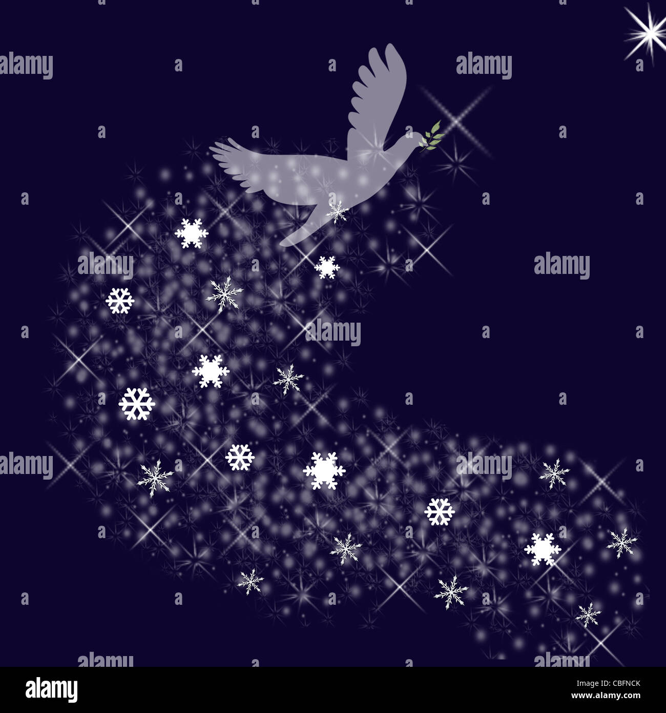 Dark blue background with spiritual white dove ascending to ...