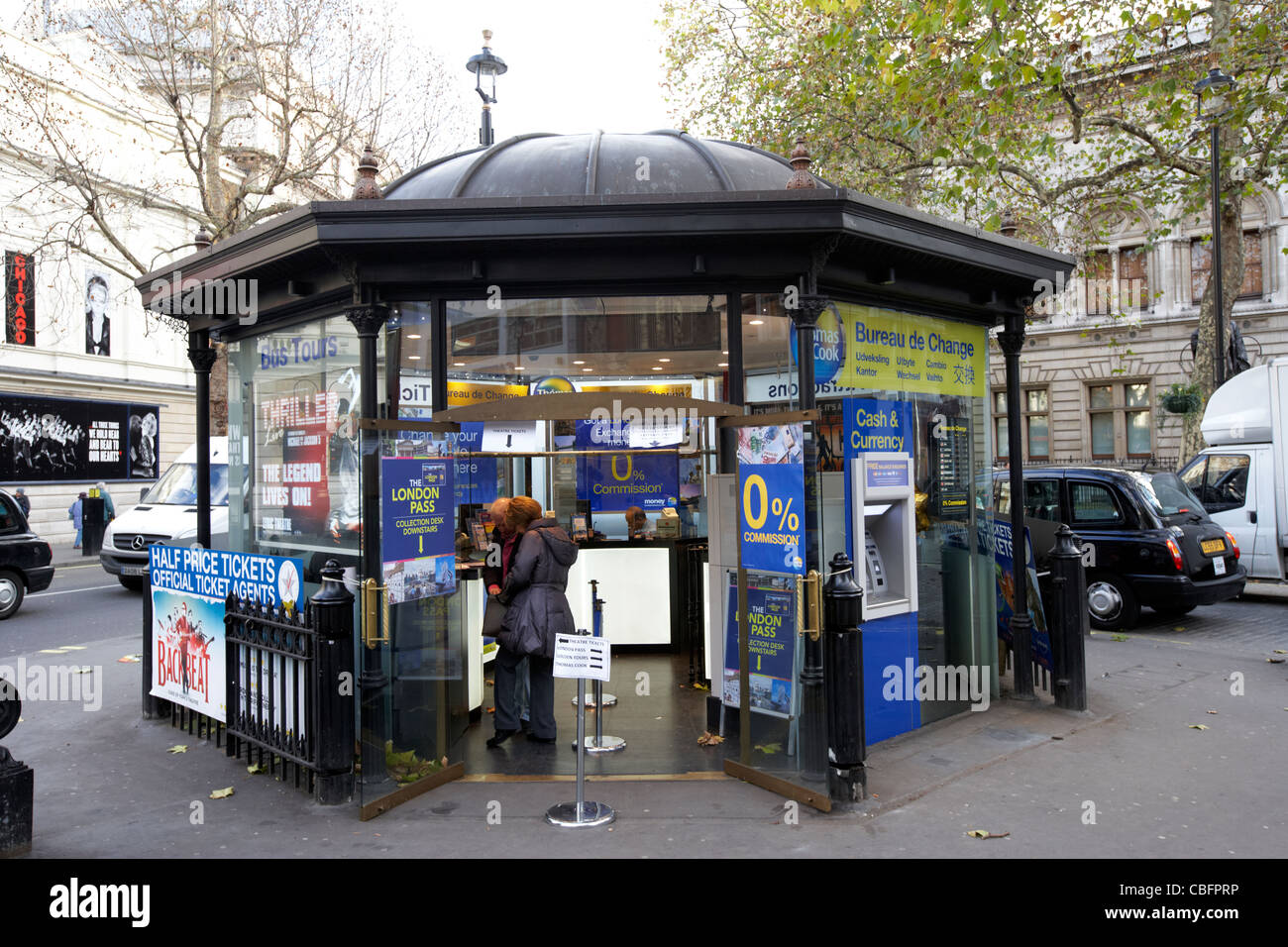 bureau de change tour bookings and theatre booking office in theatreland west end london england uk united kingdom - Stock Image