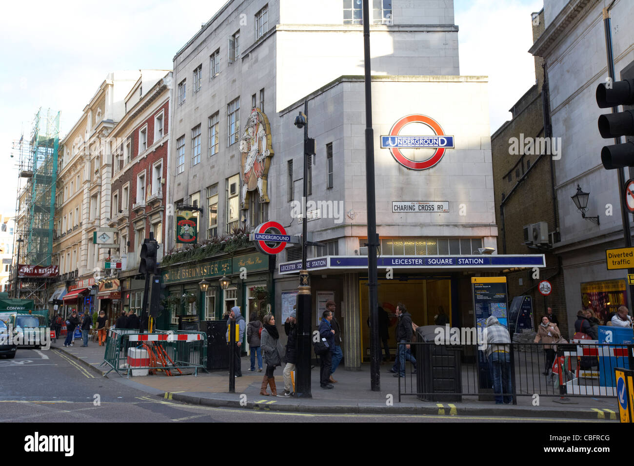 leicester square underground station on charing cross road in theatreland west end london england uk united kingdom - Stock Image