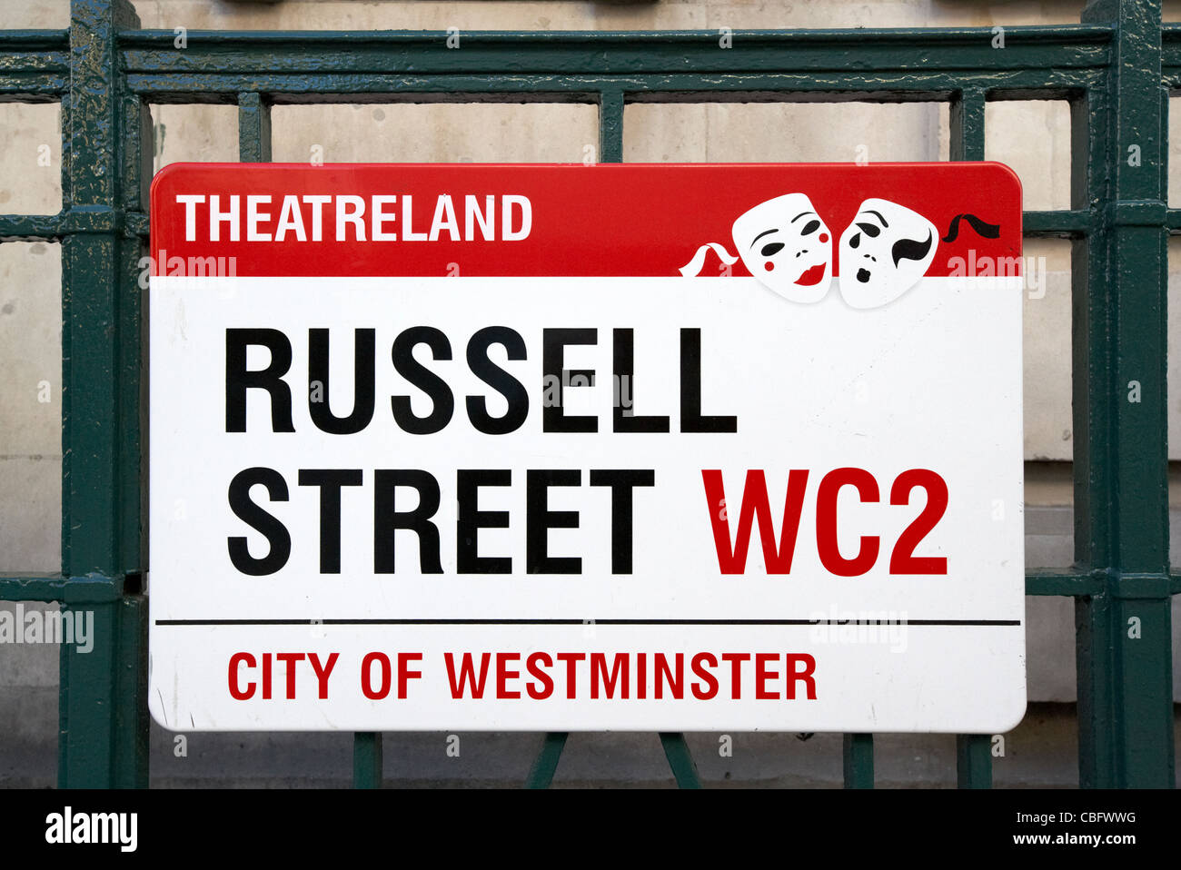 streetsign for russell street in theatreland west end london england uk united kingdom - Stock Image