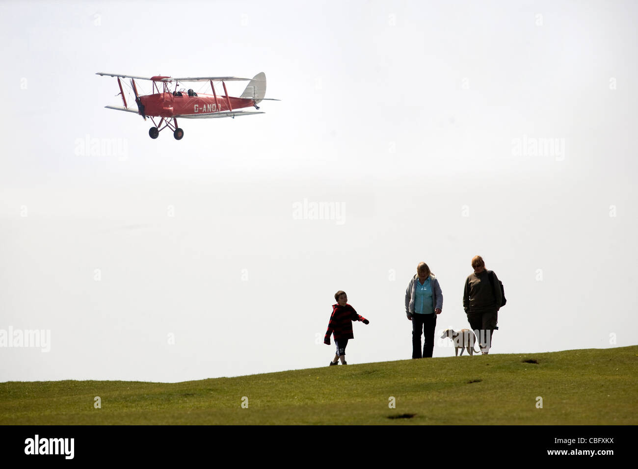 Bi Plane, Walkers, Ramblers, Aerial, Tennyson Down, Feshwater Bay, Needles, Isle of Wight, England, UK, - Stock Image