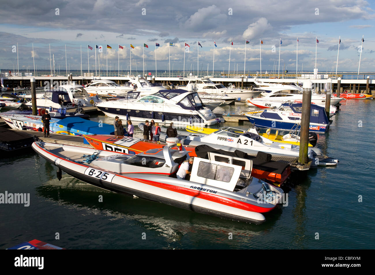 powerboat, Cowes Classic, Power Boat, Yacht Haven, Cowes, Isle of Wight, England, UK - Stock Image