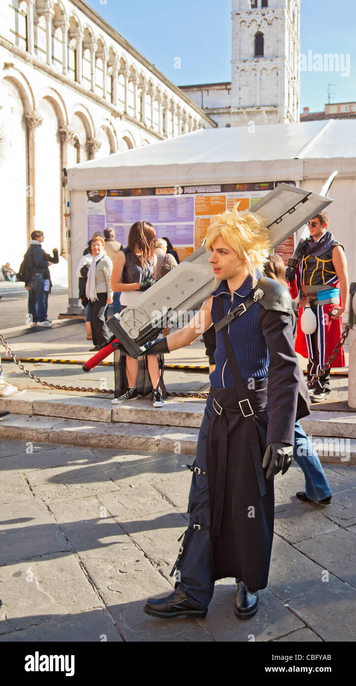 Young man dressed as Cloud from the videogame Final Fantasy at the Lucca Comics and Games Festival, 2011, Tuscany, - Stock Image
