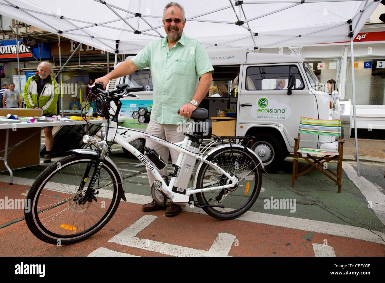David Green, Eco Island, Isle of Wight Cycling Festival 2011. Electric Bike - Stock Image