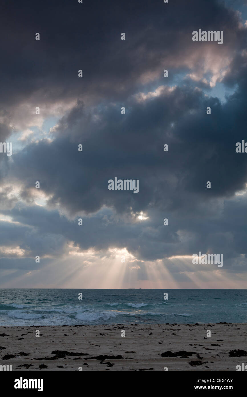 Dramatic sky at dusk over Scarborough beach in Perth, Western Australia - Stock Image
