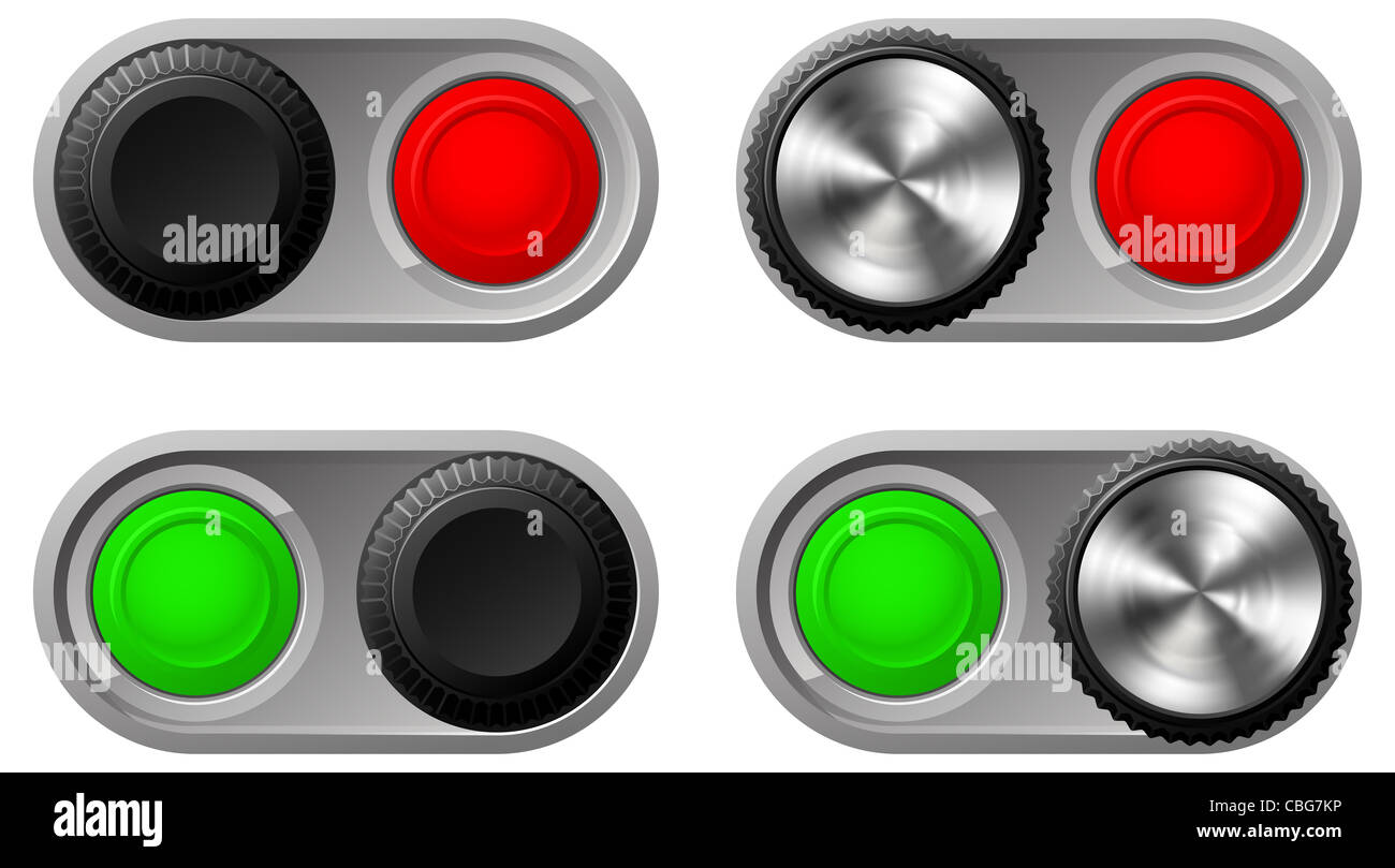 Illustration of toggle switches in both settings with green and red lights - Stock Image