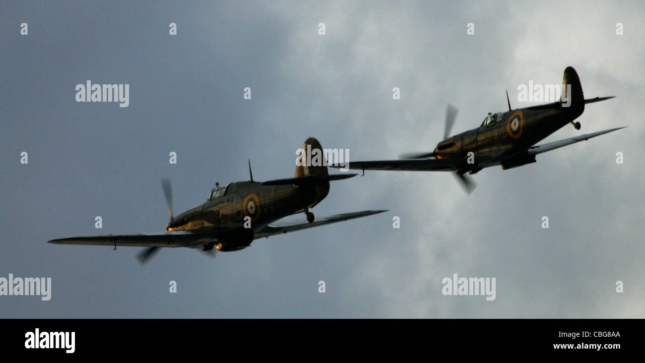 Hurricane, Spitfire, Battle of Britain Flight, Little Britain Cup, Cowes, Isle of Wight England - Stock Image