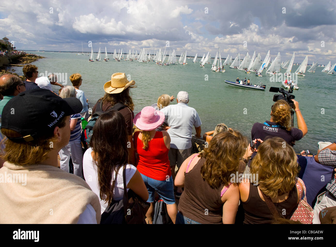 Royal Yacht Squadron, Start Line, Spectators, Yacht Racing, Cowes Week, Cowes, Isle of Wight, England, UK, - Stock Image