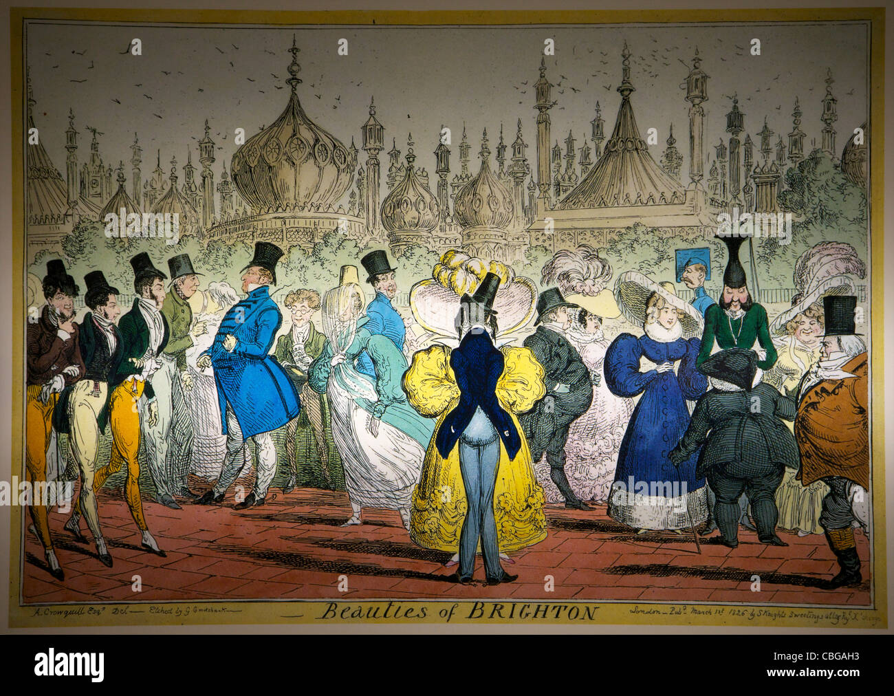 Beauties of Brighton, old coloured print, Brighton Pavilion, West Sussex, England, UK, United Kingdom, GB, Great - Stock Image