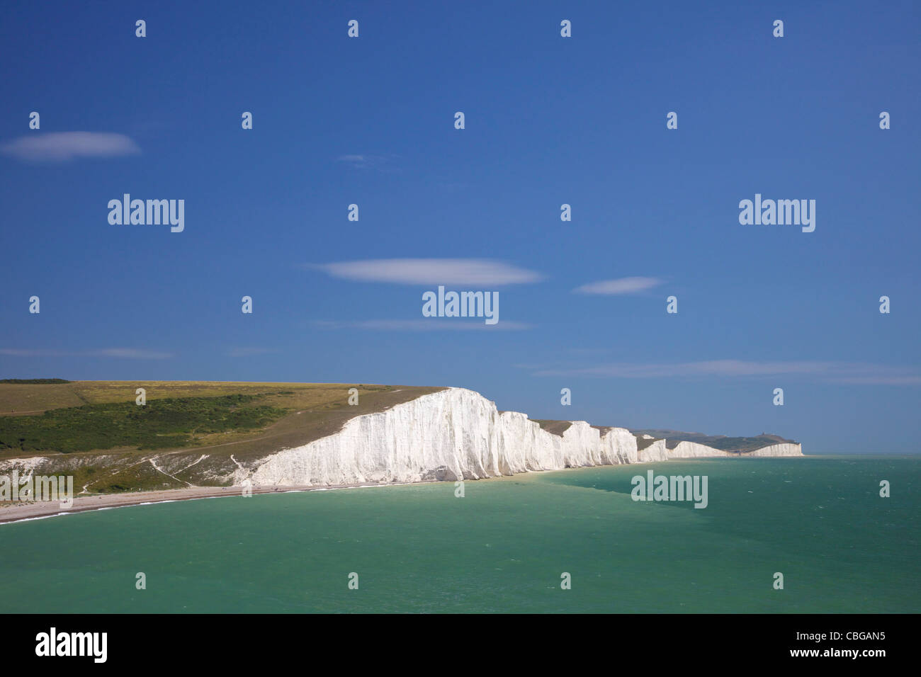 Seven Sisters white chalk cliffs, West Sussex, England, UK, United Kingdom, GB, Great Britain, British Isles, Europe, - Stock Image